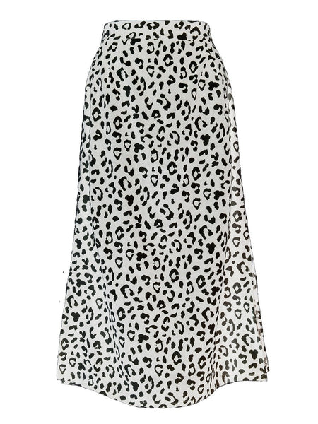 HIGH WAIST LEOPARD PRINT SLIT SKIRT