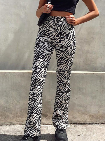 HIGH WAISTED ZEBRA PRINT FLARE PANTS