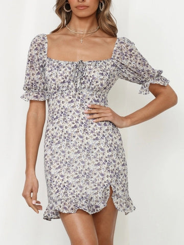SQUARE COLLAR DITSY FLORAL FLOUNCE DRESS