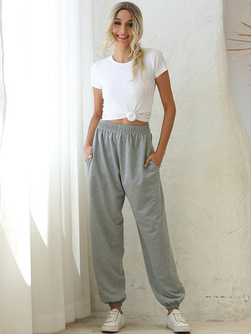 HIGH WAISTED ELASTIC SWEATPANTS