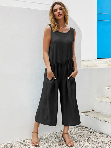 BACKLESS WIDE-LEG BLACK TANK JUMPSUIT