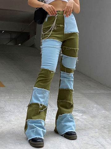 RAW TRIMMED PATCHWORK JEANS