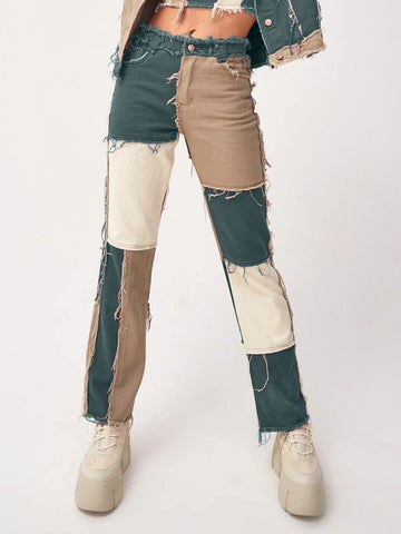 COLORBLOCK FRINGE TRIM HIGH RISE JEANS