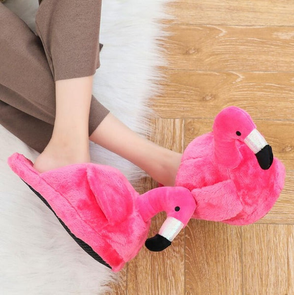 Pretty Pink Fluffy Flamingo Slippers