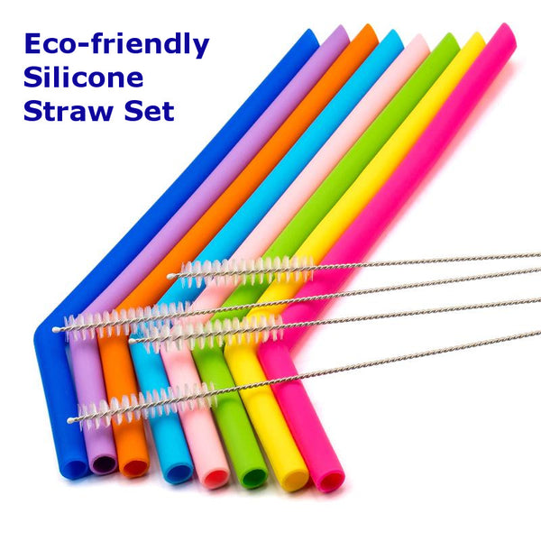 Eco-friendly Reusable Silicone Straws with Cleaner Brush