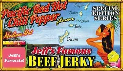 Jeff's Famous Jerky Jeff's Famous Pacific Red Hot Chili Pepper Beef Jerky - Jerky Dynasty