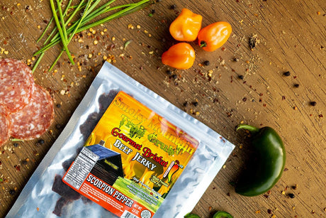 smoky mountain scorpion pepper hot and spicy beef brisket jerky