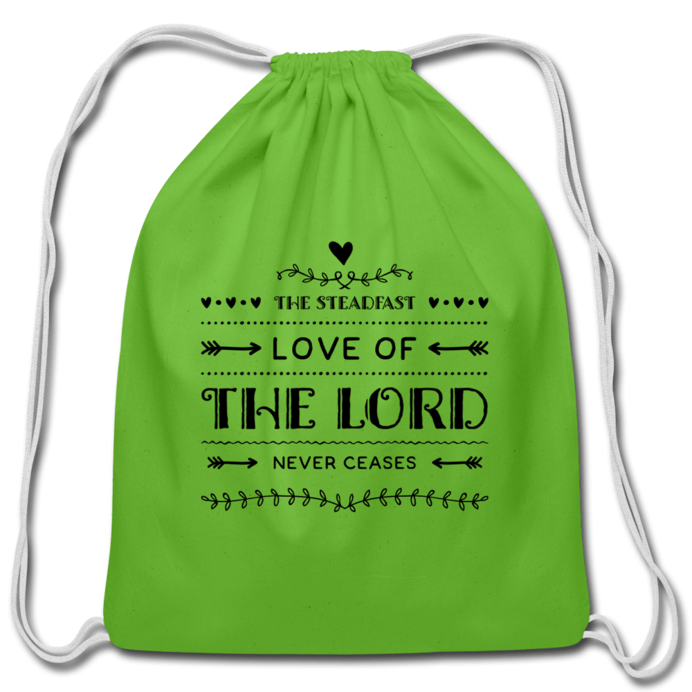Love of The Lord Never Ceases Cotton Drawstring Bag - clover