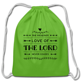 Love of The Lord Never Ceases Cotton Drawstring Bag