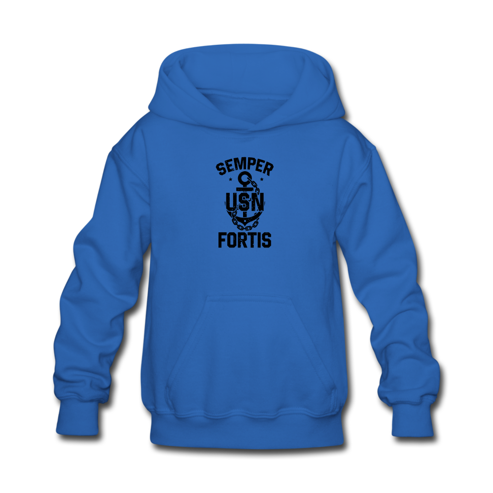 US NAVY Semper Fortis Youth Hoodie - royal blue