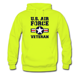 US Air Force Veteran Men's/Unisex Hoodie - safety green