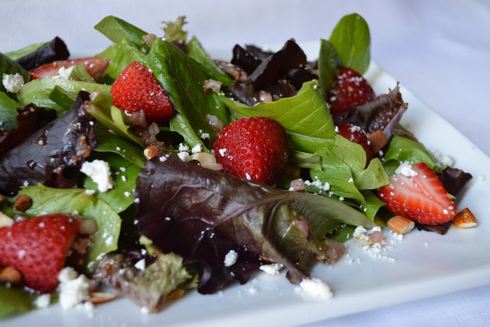 Baby Mixed Greens, Strawberry, Almond, and Feta Salad with Aged Balsamic Vinaigrette