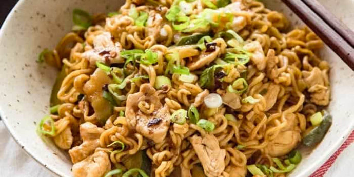 Pan Roast Chicken with Scallion Noodles