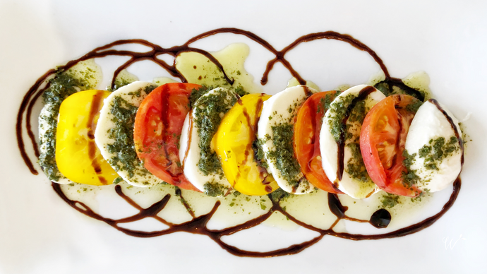 Heirloom Tomato, Burrata, and Basil Salad with Balsamic Reduction