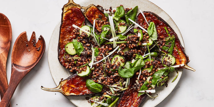 Miso Glazed Eggplant with Farro and Basil