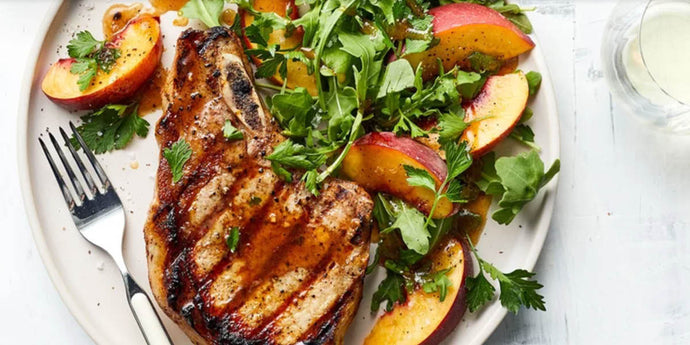 Grilled Pork Chops with Peach Salad