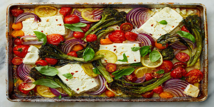 Sheet-Pan Baked Feta with Broccolini and Tomatoes
