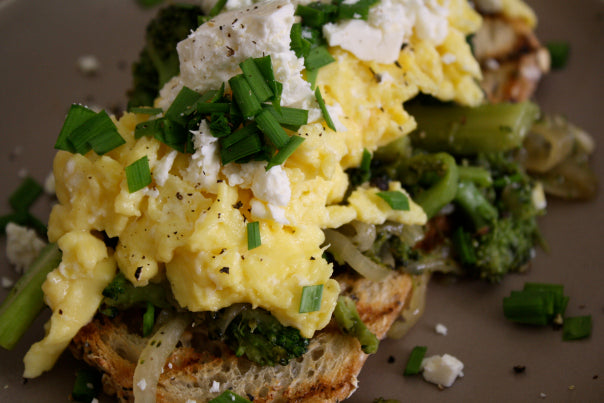Soft-Scrambled Eggs, Long-Cooked Broccoli and Feta Cheese