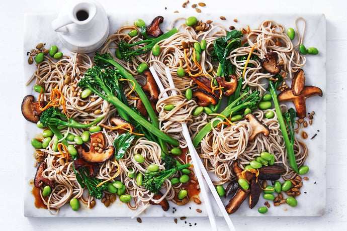 Soba Noodle with Mushroom and Chard