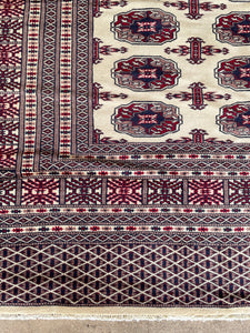 "Vintage Hand Knotted Pakistani Bokhara Rug 9'4""x11'4"""
