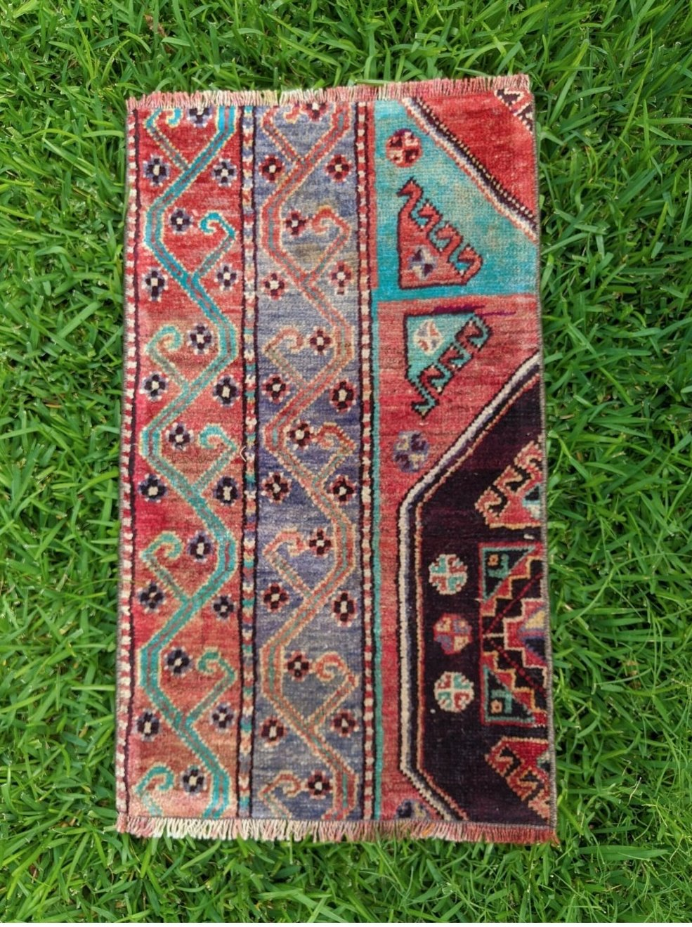 Vintage Turkish Yastik Rug 17
