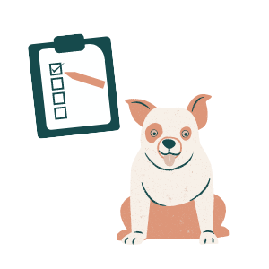 Illustration of a dog with a checklist