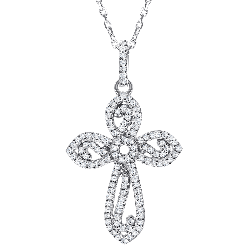 10ct White Gold Pendant with .3ct round diamonds on an 18