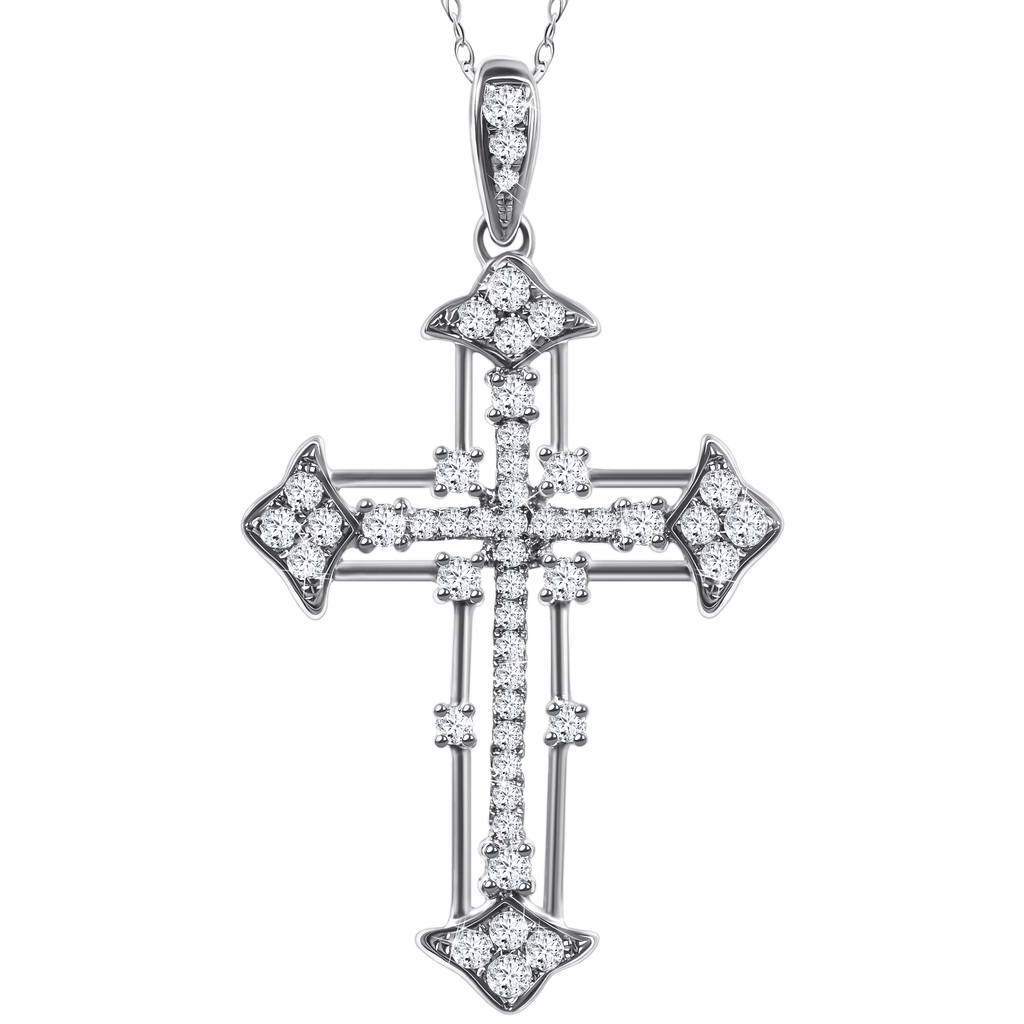 14ct White Gold Cross Pendant with .46ct Total Weight Round Diamonds and Black Rhodium Setting - Gainesville Jewelry