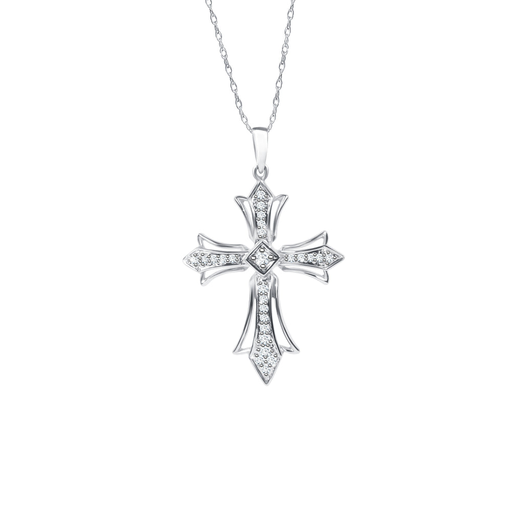 Distinctive 14K White Gold Cross Diamond Pendant (0.17ct Carat Diamond Weight)