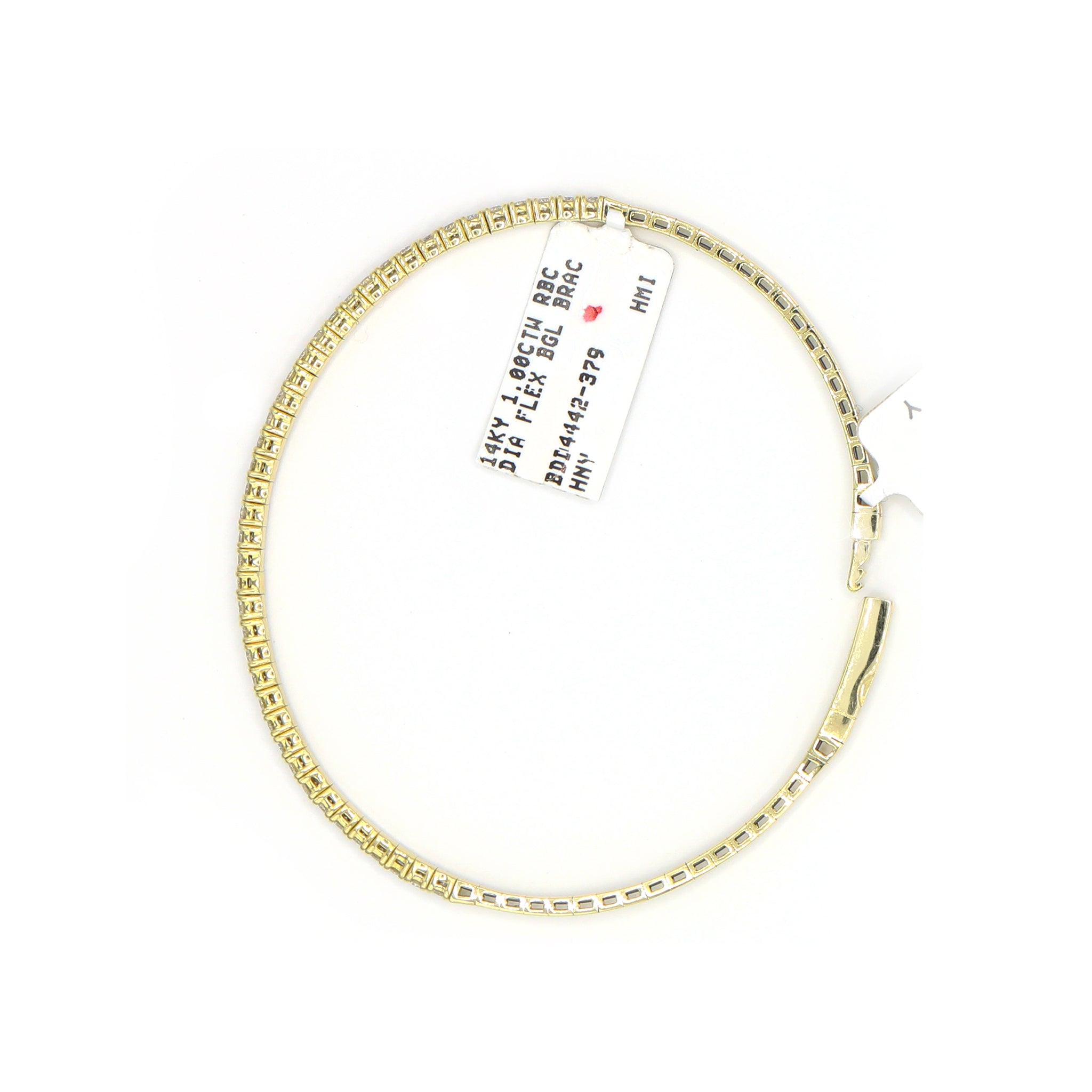 Refined 14K Yellow Gold Flexible Bangle Diamond Bracelet (1.00ct Carat Diamond Weight)