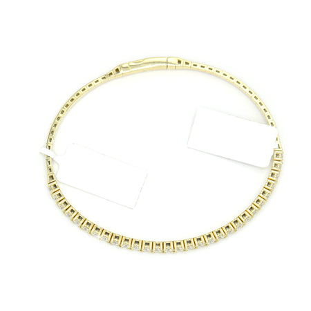 Fine 14K Yellow Gold Flexible Bangle Diamond Bracelet (2.00ct Carat Diamond Weight)