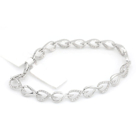 Astonishing 14K White Gold Teardrop Style Bracelet (0.98ct Carat Diamond Weight)