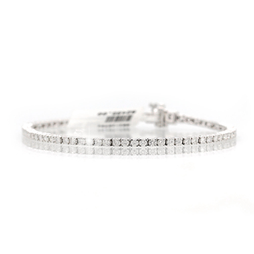 Charming 14K White Gold Round Diamond Line Bracelet (4.00ct Carat Diamond Weight)