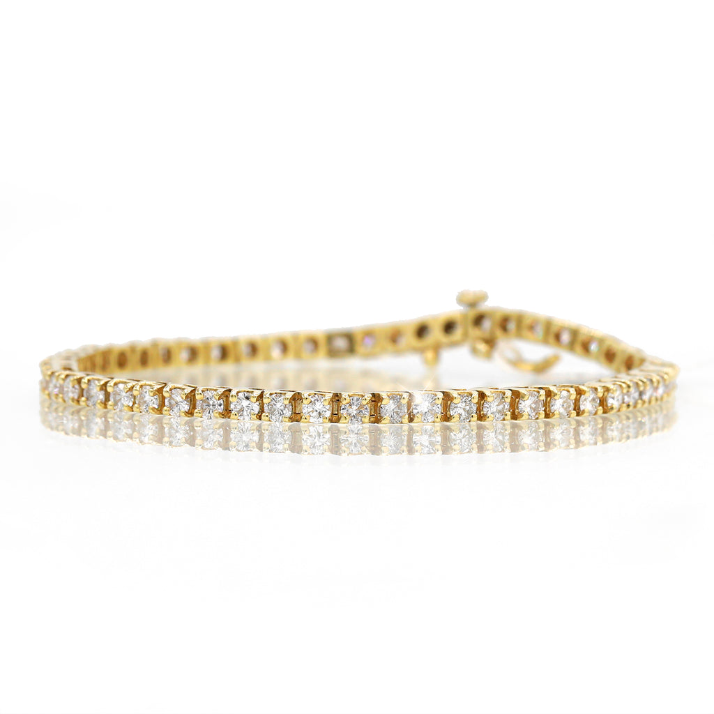 Stunning 14K Yellow Gold Tennis Round Cut Diamond Bracelet (4.00ct Carat Diamond Weight)