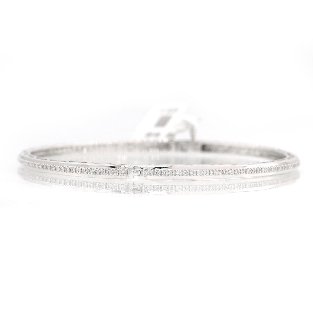 Marvelous 14K White Gold Bangle Diamond Bracelet (1.00ct Carat Diamond Weight)