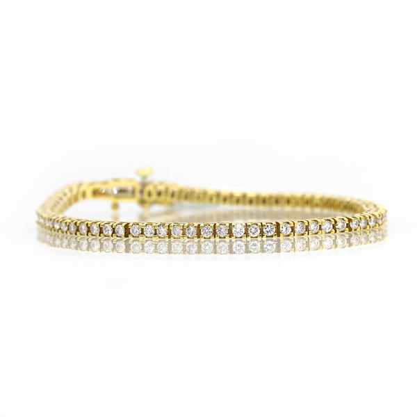 Glamorous 14K Yellow Gold Diamond Tennis Bracelet (4.00ct Carat Diamond Weight)