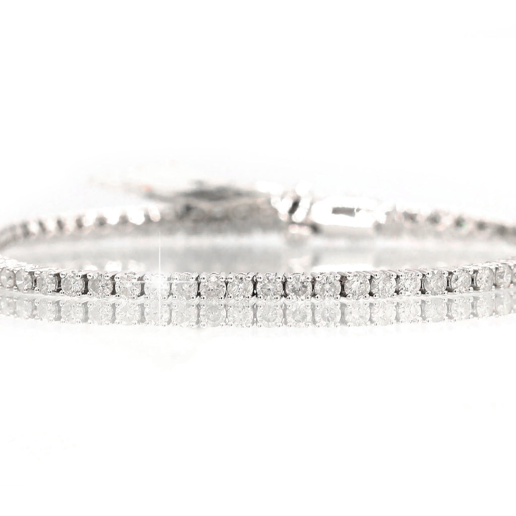 Magnificent 14K White Gold Line Round Diamond Cut Bracelet (4.00ct Carat Diamond Weight)