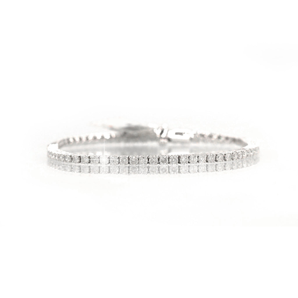 Captivating 14K White Gold Round Diamond Line Bracelet (4.00ct Carat Diamond Weight)