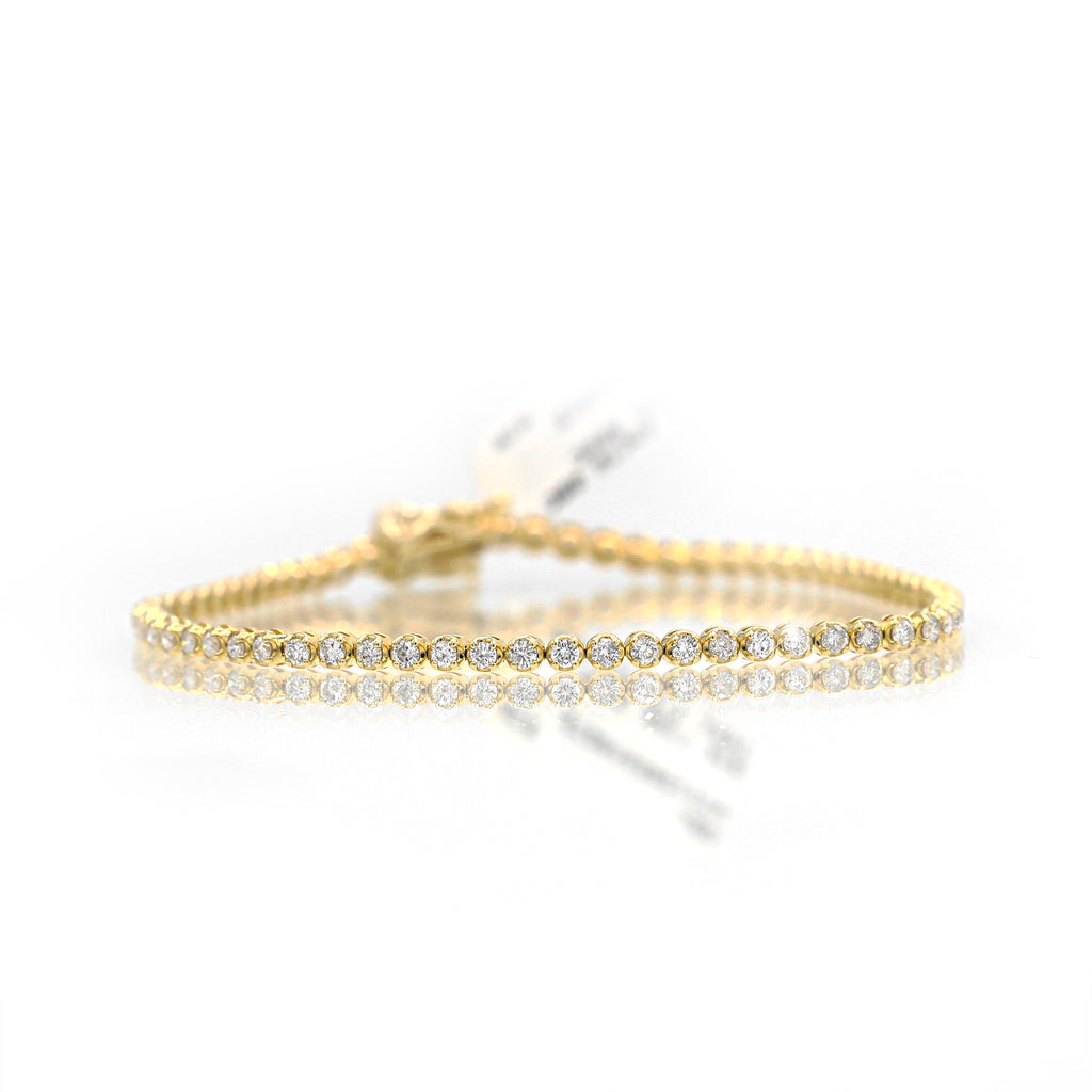 Mezmorizing 14K Yellow Gold Round Cut Diamond Line Bracelet (1.50ct Carat Diamond Weight)