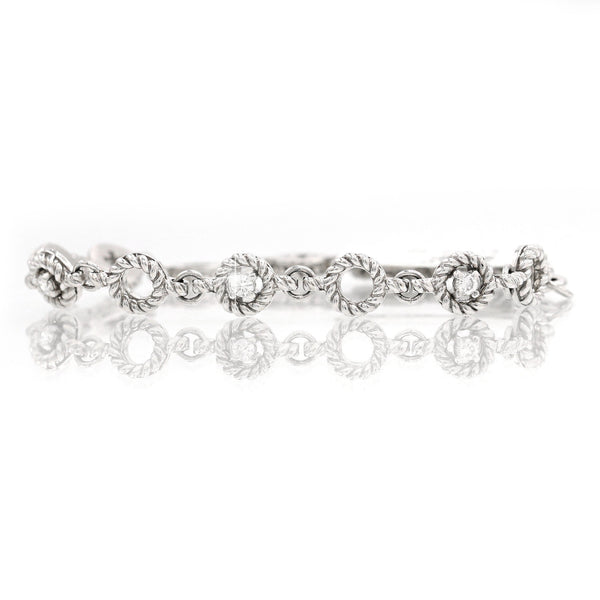 Diamond Round Link Bracelet In 14 Karat White Gold ( 0.42ct dtw )
