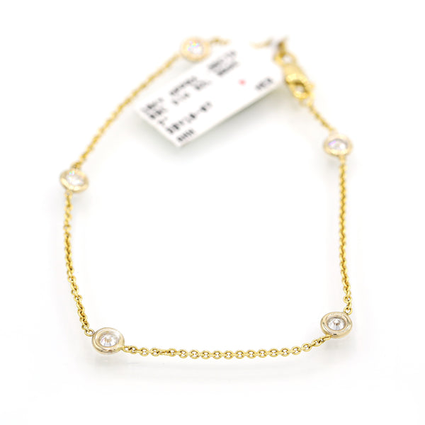 Intriguing 10K Yellow Gold Bezel Round Cut Diamond Bracelet (0.35ct Carat Diamond Weight)