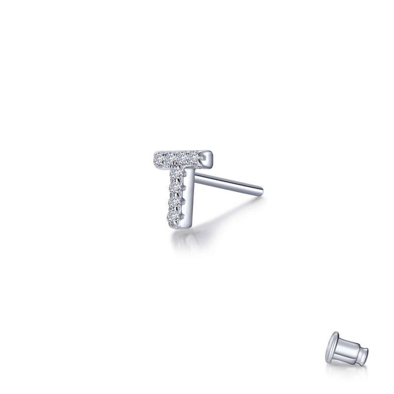 Lafonn Single Letter T Stud Earring