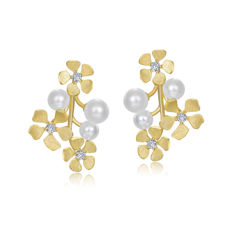 Lafonn Flower Pearl Earrings