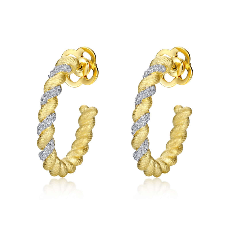 Lafonn 1.12 CTW Twisted Hoop Earrings