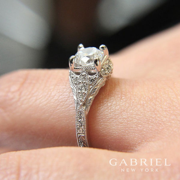 Gabriel & Co Unique 14K White Gold Vintage Inspired Diamond Halo Engagement Ring