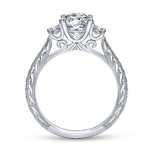 Gabriel & Co Vintage Inspired 14K White Gold Round Three Stone Diamond Engagement Ring