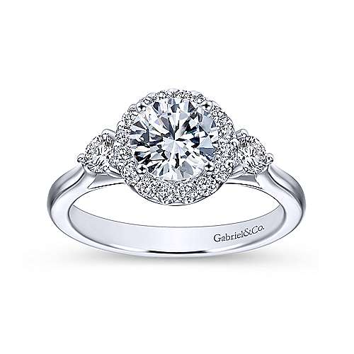 Gabriel & Co 14K White Gold Round Three Stone Halo Diamond Engagement Ring