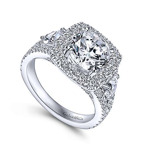 Gabriel & Co 14K White Gold Round Halo Diamond Engagement Ring