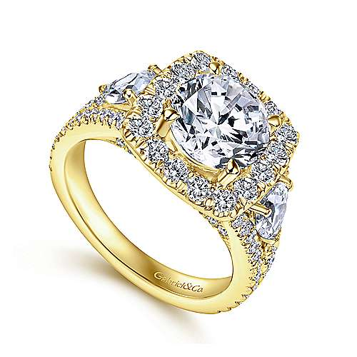 Gabriel & Co 14K Yellow Gold Cushion Halo Round Diamond Engagement Ring