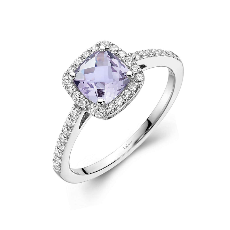 Lafonn Genuine Amethyst Halo Ring